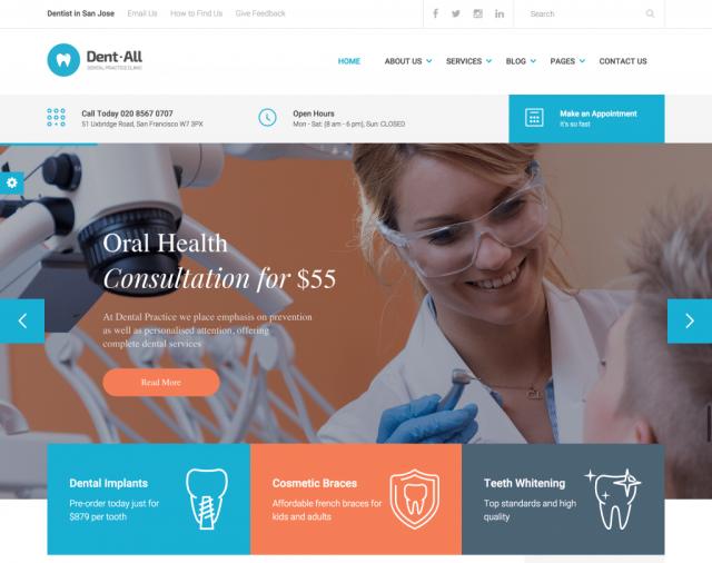 шаблон для стоматологов на вордпресс