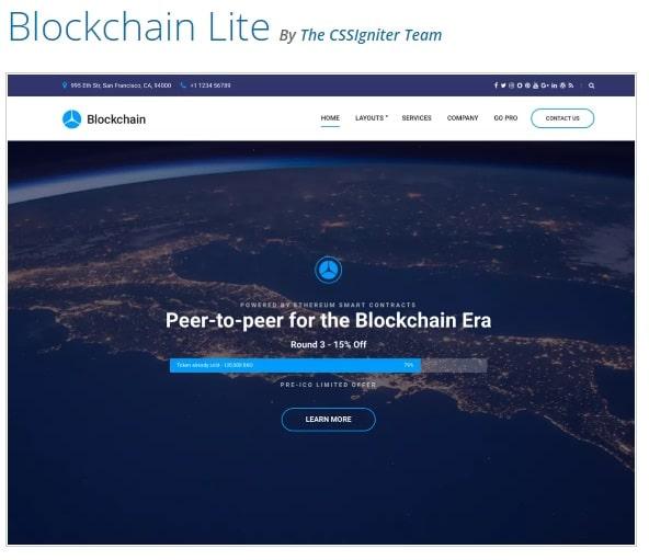 Blockchain Lite тема WordPress