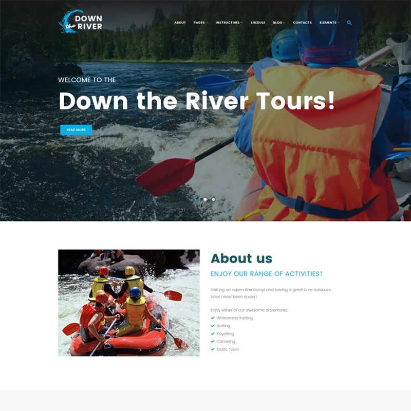 WordPress шаблон Down River на тему рафтинг