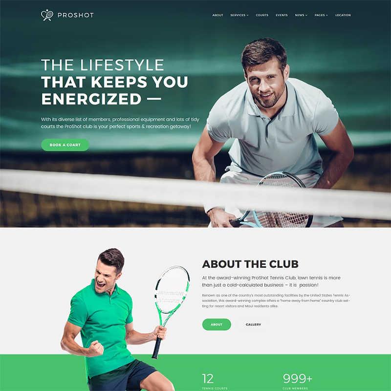 WordPress шаблон ProShot - Tennis Club Responsive