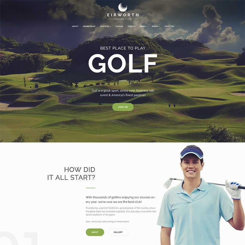 Eirworth - адаптивный WordPress шаблон сайта гольф клуба