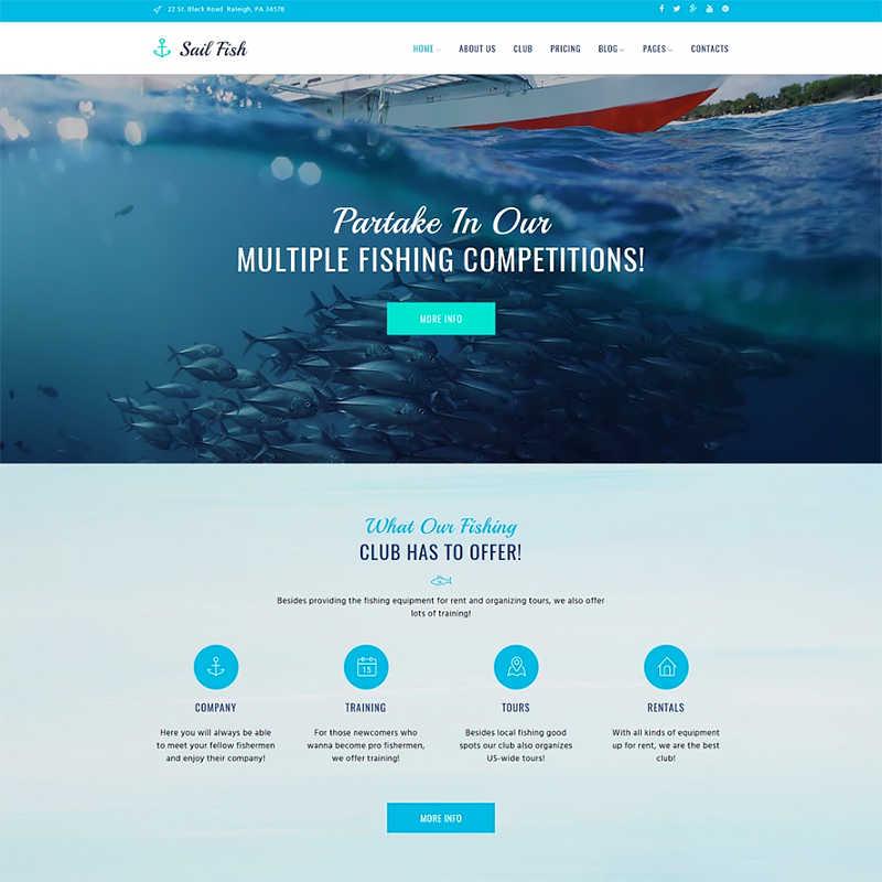 WordPress шаблон Sail Fish - Fishing Club Responsive