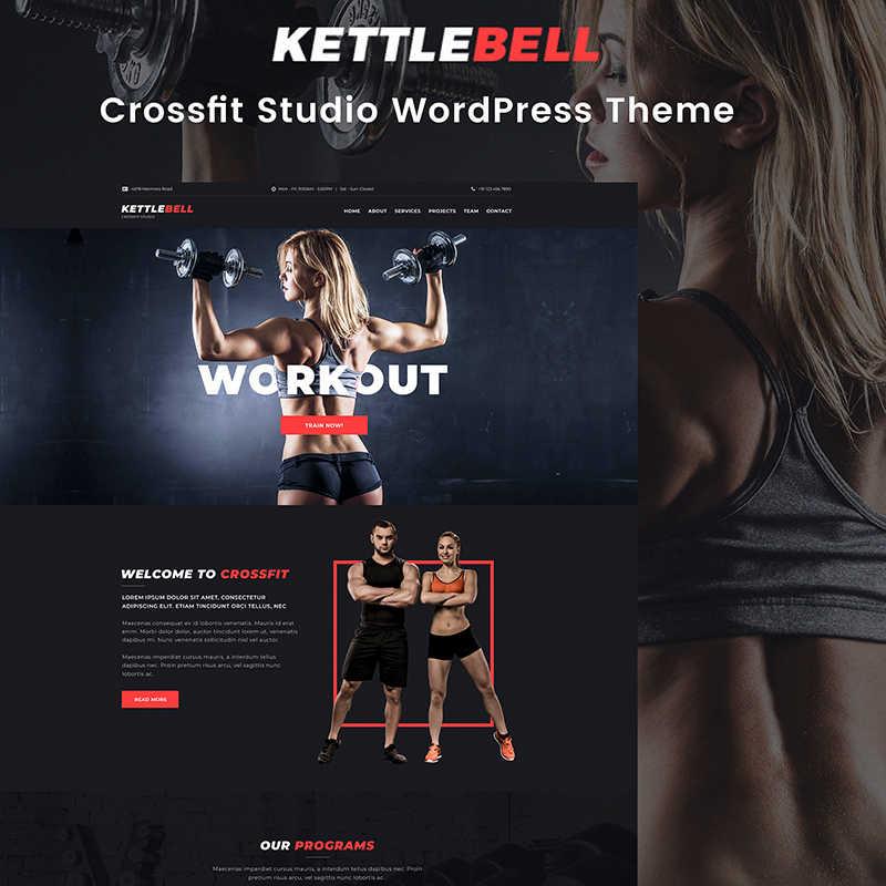 Kettlebell - Elementor WordPress шаблон сайта кросфит студии