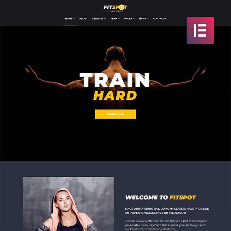 FitSpot - Elementor WordPress шаблон сайта фитнес-студии