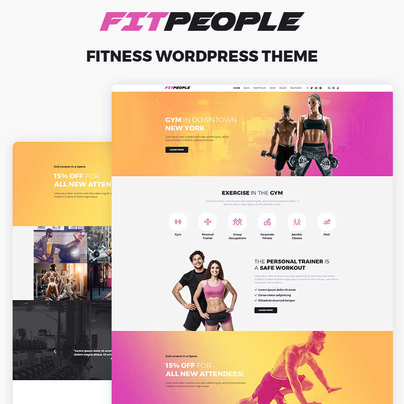 FitPeople - Elementor WordPress шаблон сайта о фитнесе