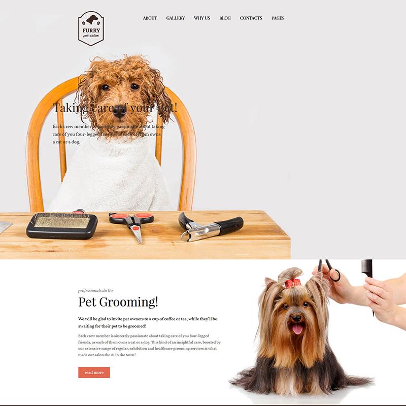 WordPress шаблон Furry на тему уход за животными