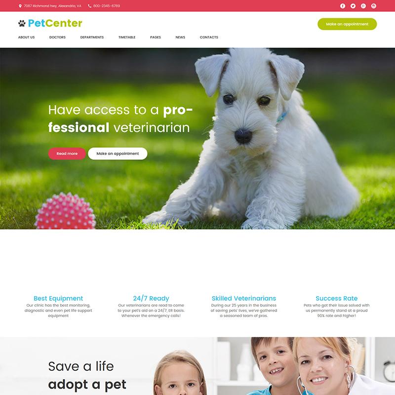 WordPress шаблон PetCenter для ветеринарной клиники