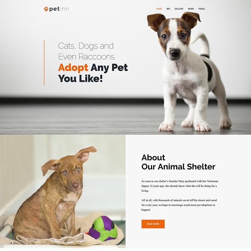 WordPress шаблон PetInn на тему приют для животных