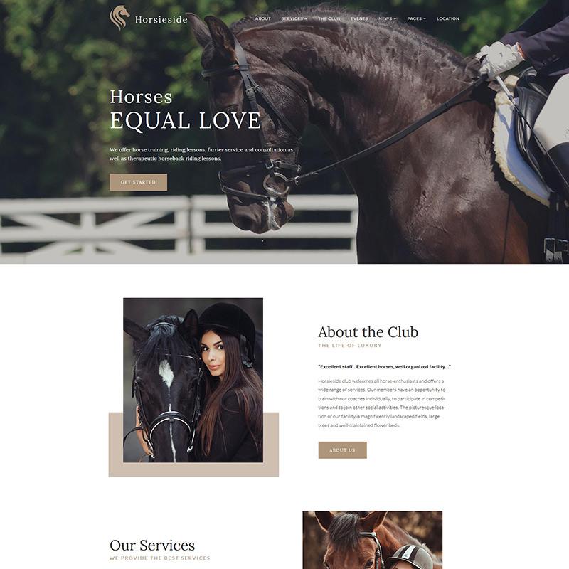 WordPress шаблон Horsieside - Equestrian Center Responsive