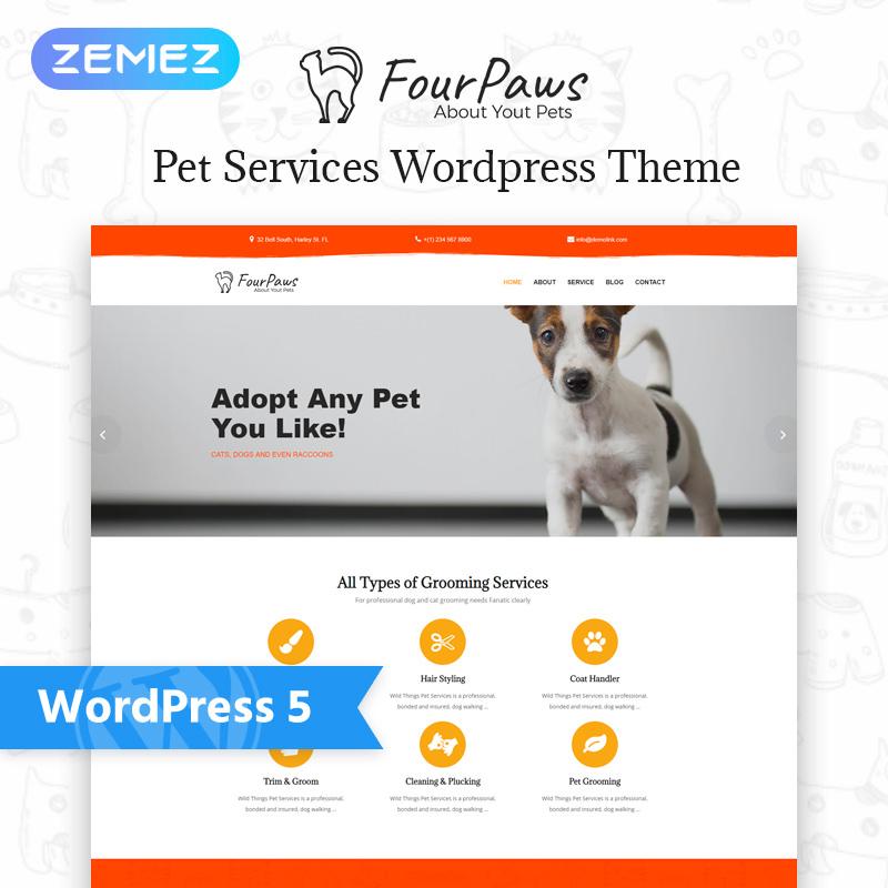 WordPress шаблон Four Paws - Pet Services Multipurpose Classic Elementor