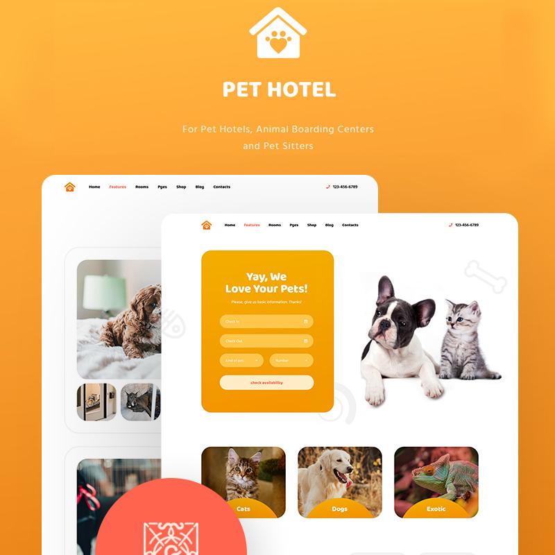 WordPress шаблон PetHotel - Pet Hotels, Animal Boarding and Pet Sitters
