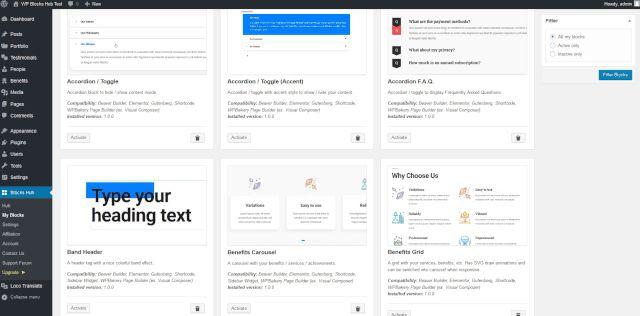 Bloklar Hub plaginini - har qanday WordPress mavzusi uchun blokirovka qiluvchi provayder