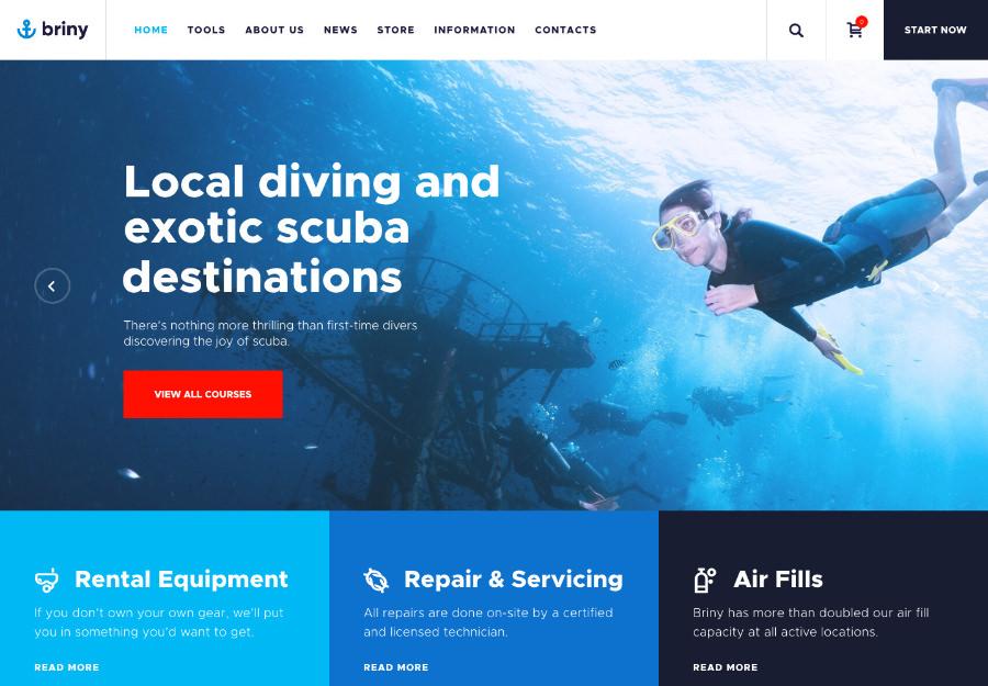 Briny   Scuba Diving School & Water Sports WordPress Theme