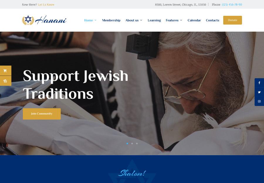 Hanani   Jewish Community & Synagogue WordPress Theme