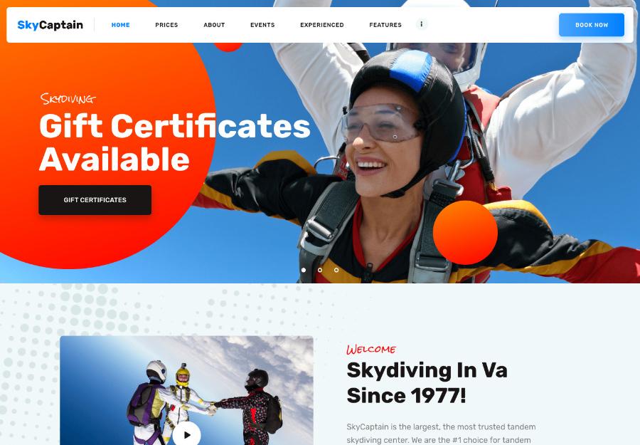 SkyCaptain   Skydiving & Extreme Flying Sports WordPress Theme