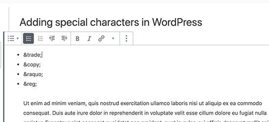 WordPress xabarlariga qanday qilib maxsus belgilar qo'shiladi