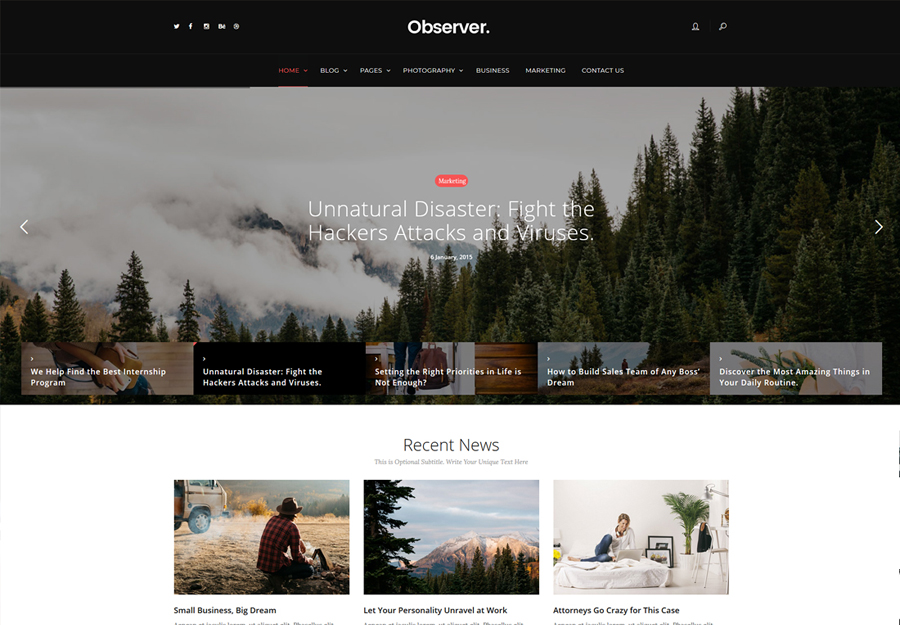 Daily Observer - Zamonaviy jurnal va yangiliklar portali WordPress mavzusi