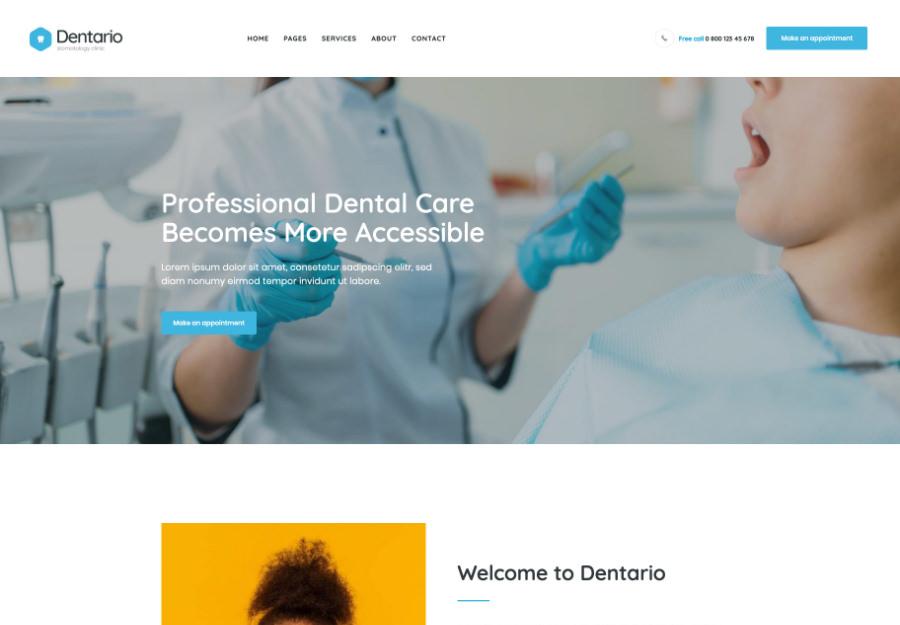 Dentario - stomatolog & Medical Elementor Andoza to'plami