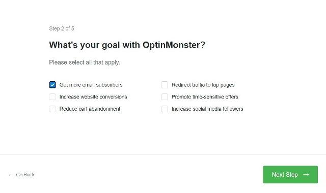 Какова ваша цель работы с OptinMonster