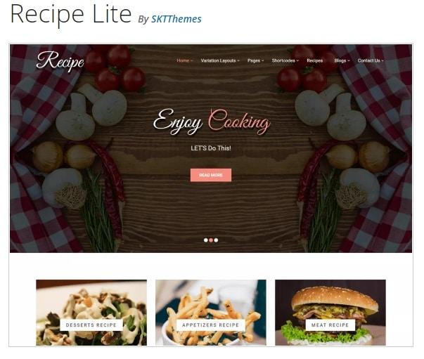 Recipe Lite - это тема WordPress
