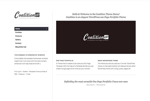 COALITION1 35 бесплатных и платных тем WordPress для одностраничных сайтов визиток