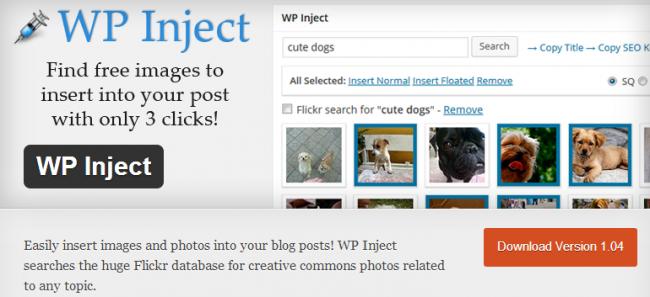 Поиск и вставка бесплатных картинок в 3 клика с помощью плагина WP Inject