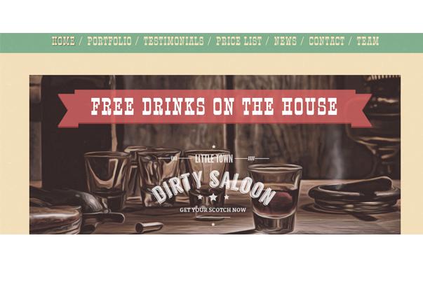 DIRTY SALOON1 35 бесплатных и платных тем WordPress для одностраничных сайтов визиток