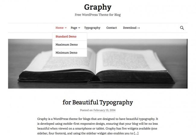 Graphy 650x448 26 лучших бесплатных WordPress тем в апреле 2014