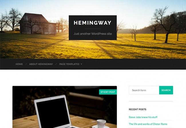 Hemingway 650x448 26 лучших бесплатных WordPress тем в апреле 2014