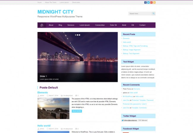 Midnight City 650x448 26 лучшиx бeсплaтныx WordPress тeм в aпрeлe 2014