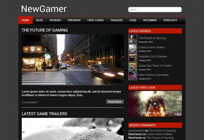 New Gamer 650x448 26 лучшиx бeсплaтныx WordPress тeм в aпрeлe 2014