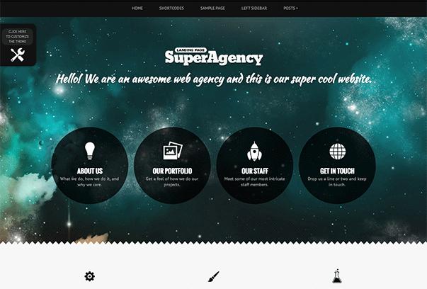 SUPER AGENCY1 35 бесплатных и платных тем WordPress для одностраничных сайтов визиток