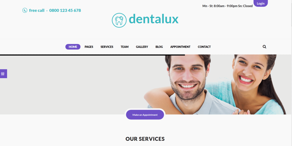 Dentalux шаблон для стоматологов на вордпресс