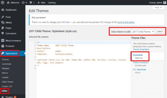 wordpress-da maxsus CSS yaratish usuli