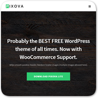 Pixova — бесплатная одностраничная мотив WordPress из параллаксом равно WooCommerce