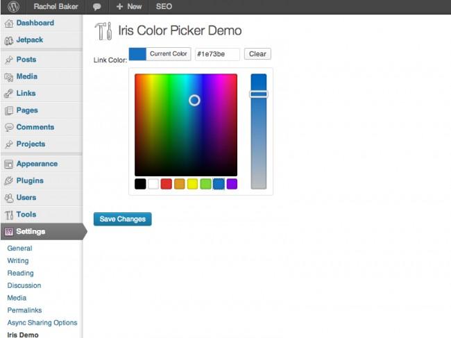 WordPress Color Picker: rang tanlash API-dan o'z maqsadlarimiz uchun foydalanish