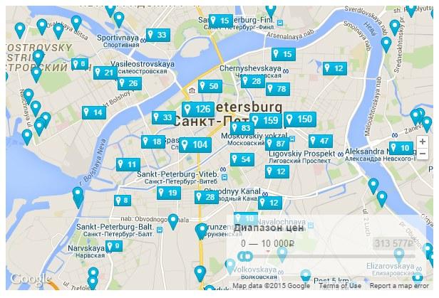 Карта отелей, вставленная с помощью плагина Travelpayouts